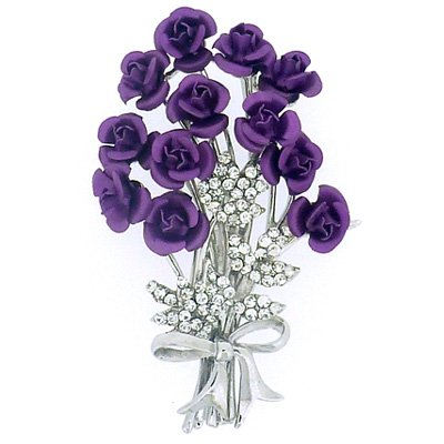 Brooches Store Bunch of 12 Purple and Crystal Rose Flower Bouquet Brooch