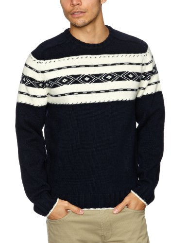 Alan Paine Grassmoor Placed Fairisle Men's Jumper Navy C48IN