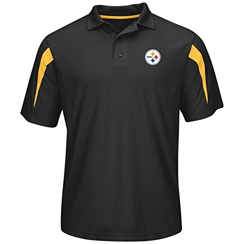 Pittsburgh Steelers Black Field Classic 14 Synthetic Polo by Majestic at Steeler Mania