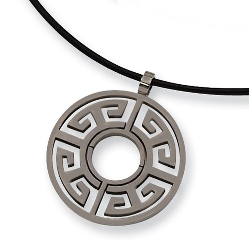 Chisel Brushed Titanium Circle (30mm) Pendant on 18 Inch Leather Cord