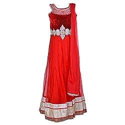 Noore Nazar Glitzy Tomato Red Half sleeve velvet/nazneen Hand Work Anarkali Dress