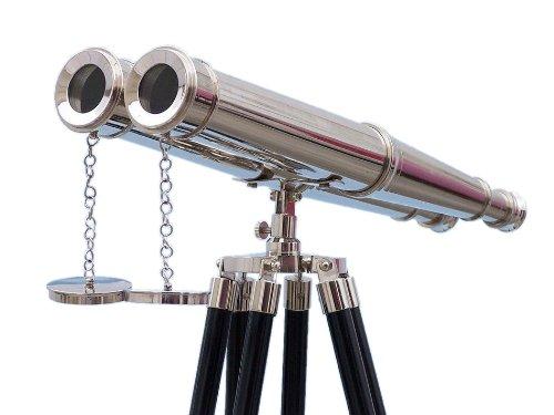 """Floor Standing Admiral'S Chrome Binoculars 62"""" - Chrome Binoculars - Telescope"""