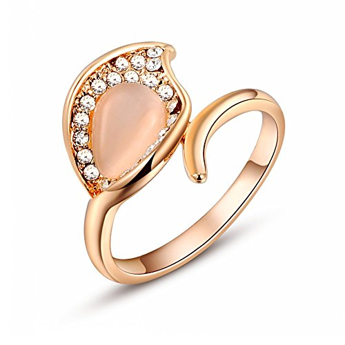 Roxi 18K Rose Gold Plated Fashion Style Leaf Opal Ring Best Christmas Gifts (Available In Sizes 6 7 8)