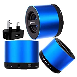 Wayzon Brand New Blue My Vision V9 Wireless 3W Portable Mini Bluetooth 3.0 Aluminium HD Audio Speaker With S D Card Reader Slot And Integrated Mic + UK Mains Plug Charger Adaptor in BONUS For Gionee Gpad G1 / G3 / G4 / M2 / Pioneer P1 / P2 / P3