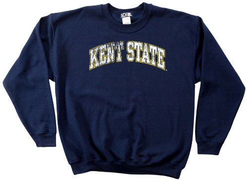 Kent NCAA Kent State Golden Flashes 50/50 Blended 8-Ounce Vintage Arch Crewneck Sweatshirt, Large, Navy