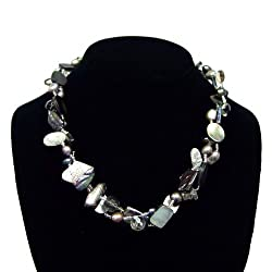 Paua (Abalone) Shell, Pearls and Crystals Necklace, Silver