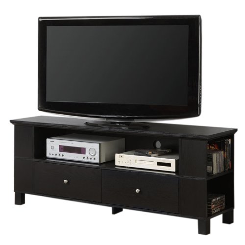 60-Inch Black Wood TV Stand with Storage