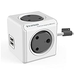 KAPAVER PowerCube Adapter Spike Guard with 4 [India Socket] (These is not PowerBank) Outlet 5V 2.1A Dual USB and 3 Metre Extension Cable (KP-30PC4USB)