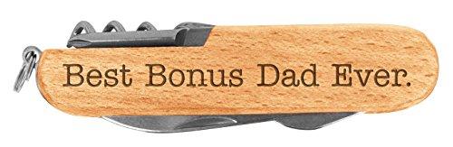 Fathers Day Gift Best Bonus Dad Ever Step Dad Laser Engraved Wood 6 Function Multitool Pocket Knife