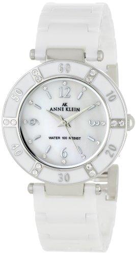AK Anne Klein Women's 109417WTWT Swarovski Crystal Accented Silver-Tone White Ceramic Watch