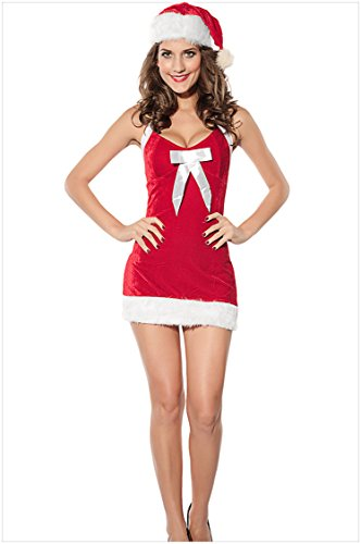 ChikaMika Sleeveless Halter Christmas Costumes Package Hip Santa Suit Dress