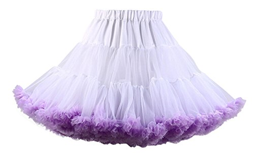 Anmengte Women's Chiffon Prom Evening Occasion Accessory Tutu Skirt Swing Dress (03Whitepurple)