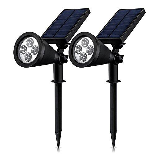[Double Lampes Solaires] Mpow étanche Lamps solaire IP65 Certifié étanche 4 LED Soleil P2 Lampe Solaire Extérieure/Eclairage solaires d'extérieur 1.5w 200 Lumen réglable angle de 90 ° en sécurité pour bébé avec 8-16 heures de durabilité pour jardin, cour, escaliers, clôture, patio.