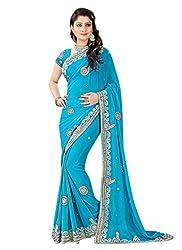 Khushi Trendz Georgette Sky blue Designer Saree