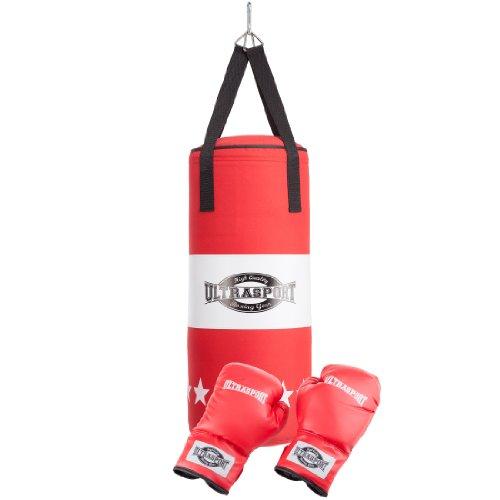 Ultrasport Serie Gear Set da Boxer con Sacco Pieno Canvas e Guantoni, Rosso