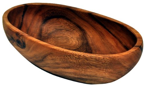 Acaciaware Polished Sustanable Wood Oval Bowl by Pacific Merchants Trading