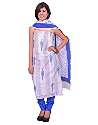 Chhipa Women Hand Printed Blue Unstitched Suit Fabric