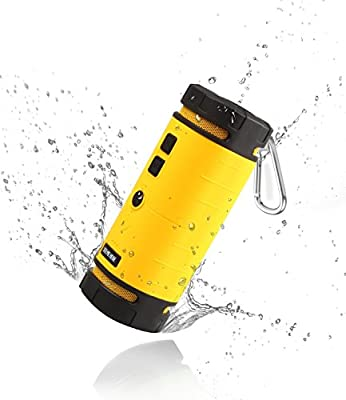 See Me Here BV350 Sport Outdoor Bluetooth Speaker Portable Speaker with 6W Strong Speaker Driver and Passive Bass Radiator Hook Included Yellow