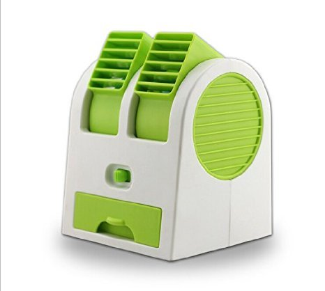 2016 New Double Layer USB Mini Air Conditioning Blade-less Fan Portable Mini-air Conditioner Outdoor office Runs On Batteries/USB (Green) (Fan Blade Less compare prices)