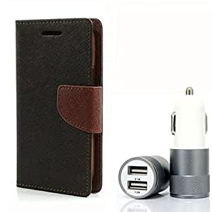 Aart Fancy Diary Card Wallet Flip Case Back Cover For Samsung 7102 - (Blackbrown) + Dual ports USB car Charger With Ultra Power Technolgy by Aart Store.
