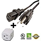 Huetron 5ft Power Cord For Samsung Syncmaster 914V 19 Inch LCD Monitor 3 Way Cube Tap