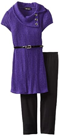 Amy Byer Girls 7-16 Split Neck Belted Legging Set, Purple, Medium