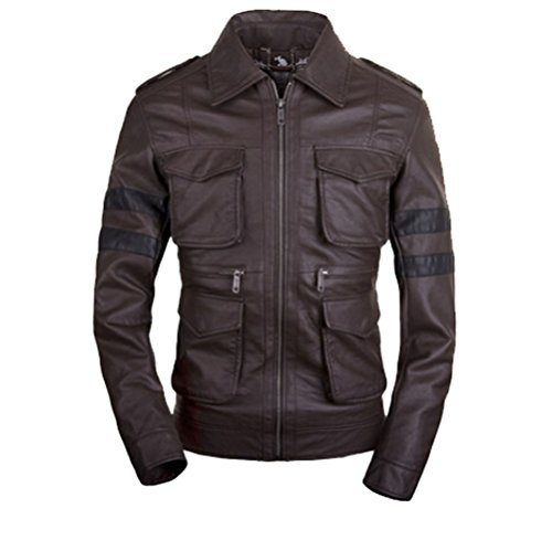 [Koveinc Resident Evil 6 Game Leather Jacket - Brown PU Leather-Male-XX-Large] (Leon Kennedy Costumes)