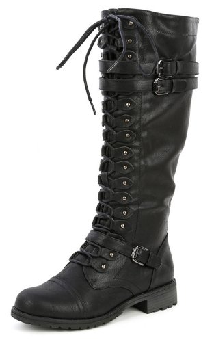 Wild Diva Timberly-65 Lace up Knee Boots - stylishcombatboots.com