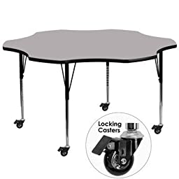 Flash Furniture Mobile 60-Inch Flower Shaped Activity Table with Grey Thermal Fused Laminate Top and Standard Height Adjustable Legs