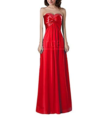 Promithi Women's Bride Slim Fitted Long Fishtail Dress Sequins Prom Gowns (2, A-red)