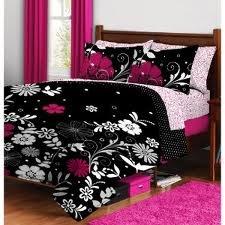 Twilight Pink Black White Girls Flowered Twin Xl Comforter Sheet Bed In A Bag Set