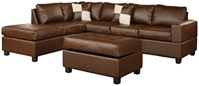 Bobkona Soft-Touch Reversible Bonded Leather Match 3-Piece Sectional Sofa Set, Walnut