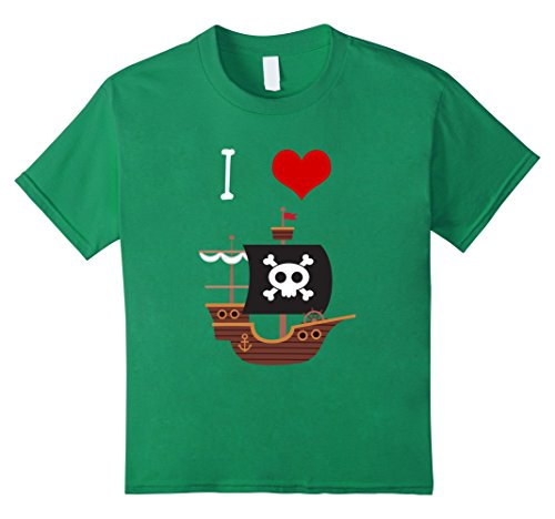 Kids I Love Pirate Ships T Shirt for Little Boys and Toddlers 10 Kelly Green (Ahoy Matey Mens Adult Costume)