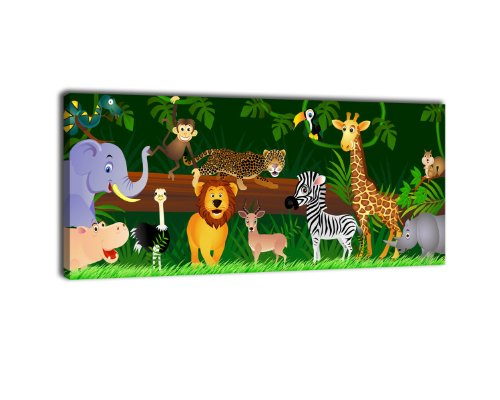 Leinwandbild-Panorama-Nr-66-Animals-100x40cm-Keilrahmenbild-Bild-auf-Leinwand-Kunstdruck-Kinder-Tiere-Dschungel