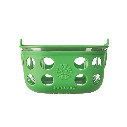 Lifefactory 4-Cup Glass Food Storage with Silicone Sleeve, Grass Green
