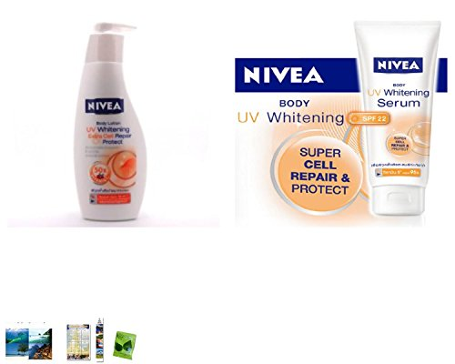 Special Set :Nivea Uv Whitening Extra Cell Repair Body Lotion 250Ml Plus Nivea Body Uv Whitening Serum Lotion Spf 22 Super Cell Repair & Protect 200 Ml Made In Thailand