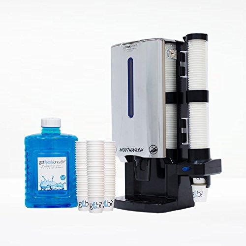 Mouthwash Dispenser Starter Kit (Chrome) - For GotFreshBreath Alcohol-free Mouthwash (Tamperproof Dispenser compare prices)