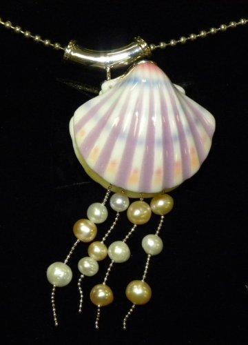 Franz Porcelain Shell Rhodium plated brass & porcelain pendant