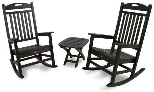 Trex Outdoor Furniture Txs121-1-Cb Yacht Club 3-Piece Rocker Chair Set, Charcoal Black front-148832
