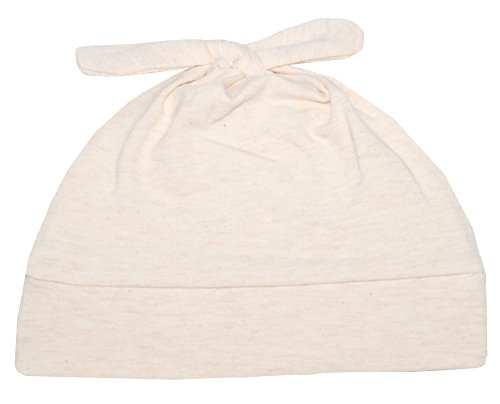 Woombie Cotton Double Knot Beanie Hats, Free Bird Cream Heathered, 0-6m - 1