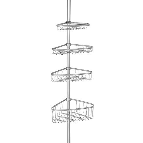 InterDesign York Bathroom Constant Tension Corner Shower Caddy for Shampoo, Conditioner, Soap - Silver