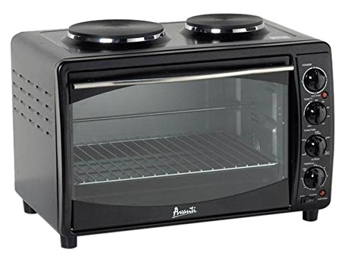 Avanti MKB42B Full Range Temperature Control, Multi-Function Counter Top Convection Oven with Duel Burner Cook-Top, Rotisserie, in Black (Small Oven Stove compare prices)