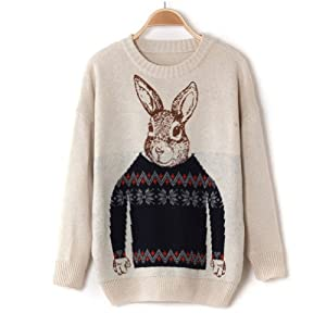 Mr. Peter Rabbit Jacquard Sweaters Christmas Fashion Women Tops Long Sleeve Knitted Sweater Beige from BLACK SUN