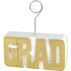 GRAD Photo/Balloon Holder (gold) Party Accessory  (1 count)