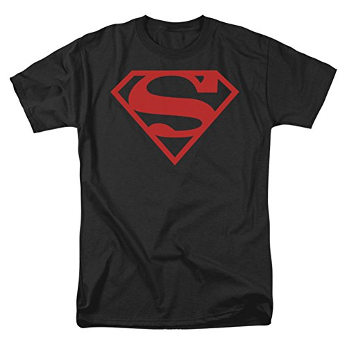 Superman Shield Red On Black Mens Shirt