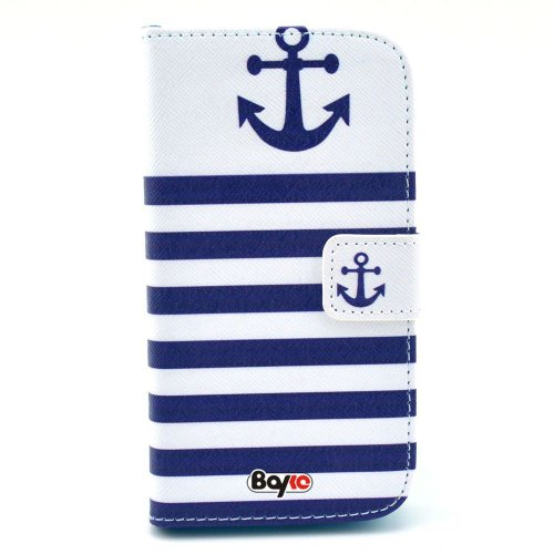 Bayke Brand / Motorola Google Moto G Fashion Pu Leather Wallet Flip Protective Skin Case With Stand With Credit Card Slots & Holder (Fashion Anchor Print)