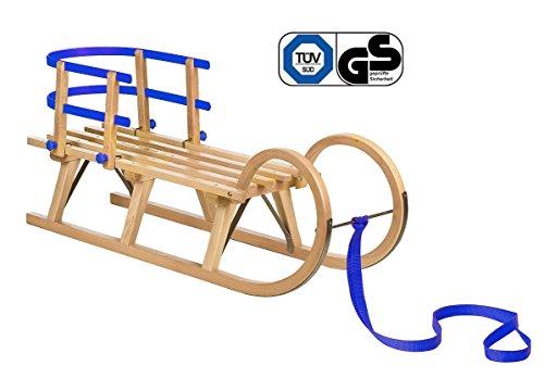 Impag® Hörnerschlitten mit Zuggurt und Lehne Blau 115 cm