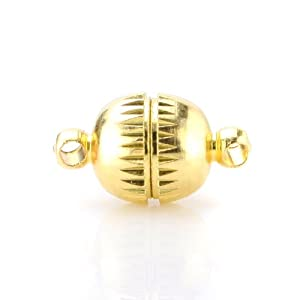 Beadnova 8mm Gold Plated Strong Magnetic Clasp Integral Clasp for Necklace Jewelry Findings