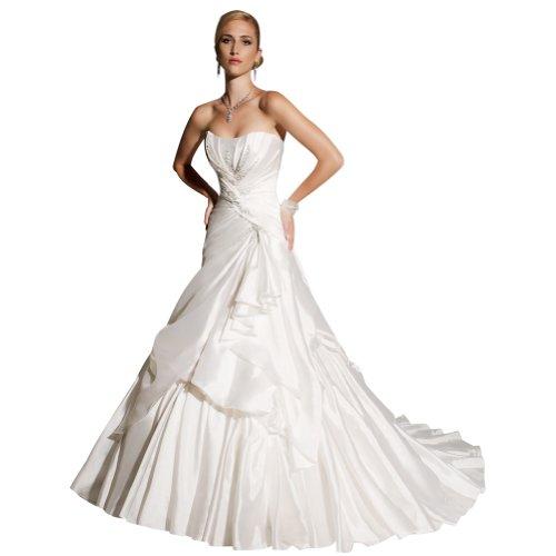 GEORGE BRIDE Simple Strapless A-line Taffeta Chapel Train Wedding Dress Size 4 Ivory
