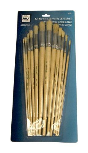 Loew Cornell 1802 12-Piece Brush Set, Bristle, Round ntnt free post new bristle brush flexible beater brush for irobot roomba 500 series green